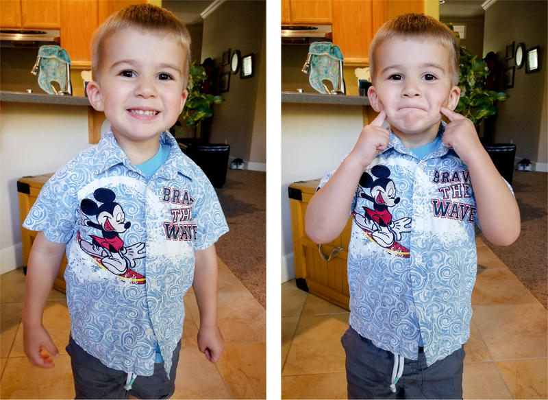 Loving his new Mickey Shirt