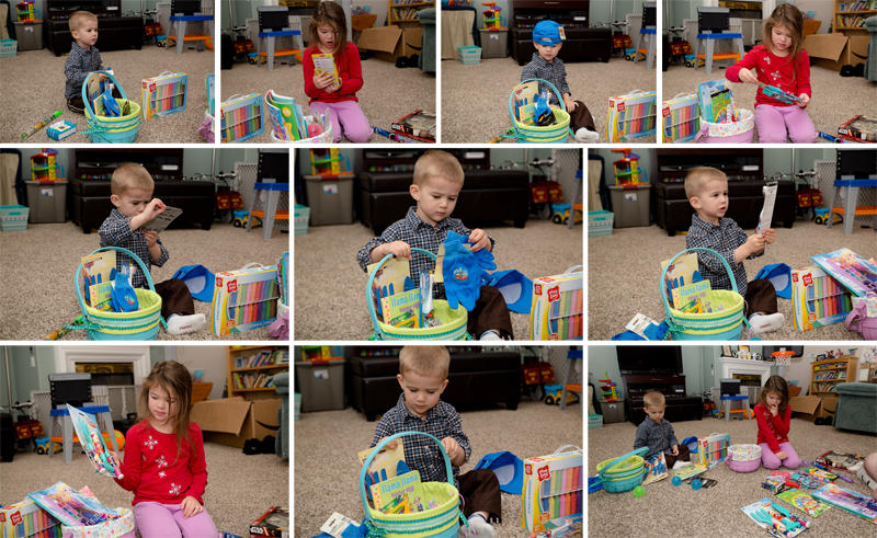 Opening their Easter Baskets 2017