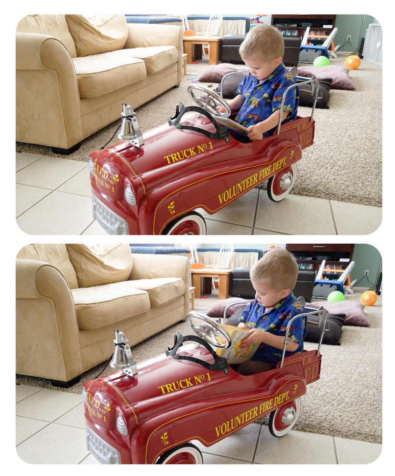 Reading in his Fire Engine