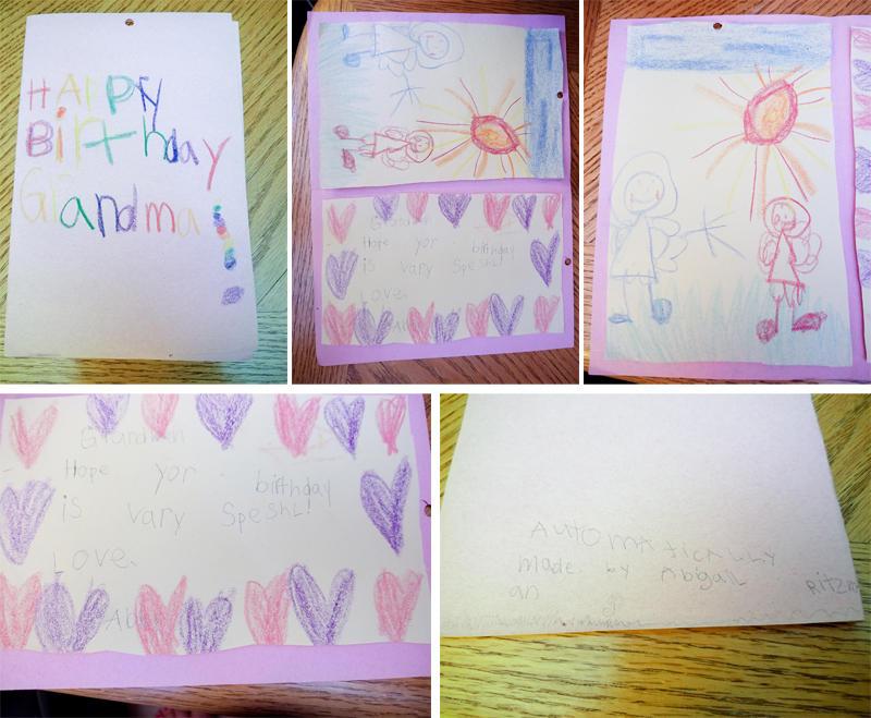 Abby's Birthday Card for Grandma Kathy