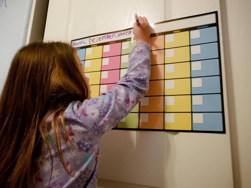 Working on her Calendar