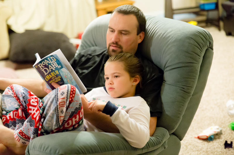 Daddy Daughter Reading Charlie & the Chocolate Factory